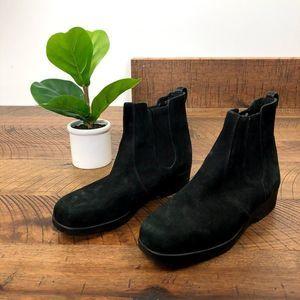 COLE HAAN suede leather black chelsea bootie